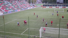 Small Sports Arena of stadium Locomotive with football players Stock Footage