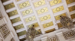 Beautiful old style ceiling in Stalin empire style Stock Footage