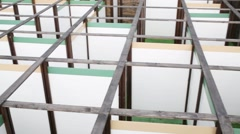 Above view of indoor maze of thin white partitions Stock Footage