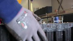 Workers work at a factory conveyor Stock Footage