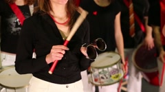 Musical group of eight people play drums and other instruments Arkistovideo