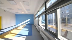 Group room with blue and white walls in kindergarten Stock Footage