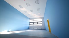 Playroom with blue walls and window in play school Stock Footage
