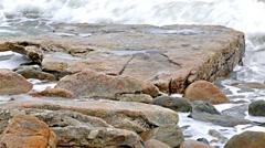 Ocean washing ashore on Maine coast Stock Footage