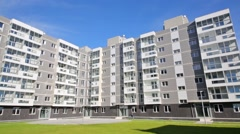 Grey apartment building in new residential complex in Moscow Stock Footage