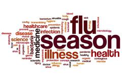 Flu season word cloud - stock illustration