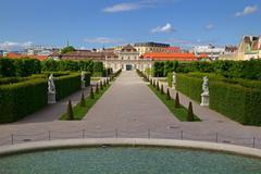 Garden of Belvedere Palace in Wien, Austria - stock photo