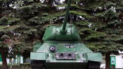 Vertical pan of The original tank T-34 of the Second World War 2 Stock Footage