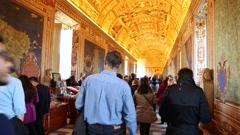 Galleries in Vatican Museum, Italy. Stock Footage