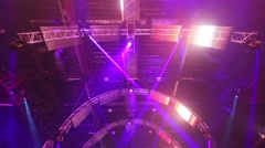 Ceiling with illuminating equipment and lasers in night club Stock Footage