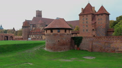 The Castle of the Teutonic Order in Malbork, Poland from the outside Stock Footage