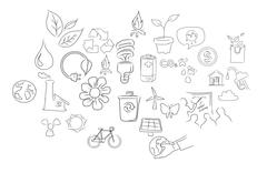 Icon set eco environment hand drawing illustration Stock Illustration