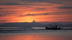 Kanoe on Welsh Beach with beautiful Sunset Stock Footage