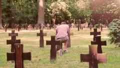 Man in cemetery - stock footage
