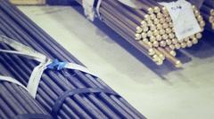 Warehouse of metal tubes Stock Footage