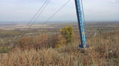 Mountain lift on Kush-Tau in autumn. Panorama. Stock Footage