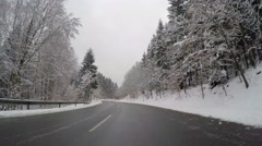 Driving on Highway in winter Stock Footage