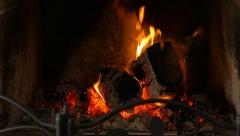 Fireplace Close Up - Fire Loopable Stock Footage