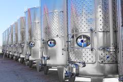 Modern aluminum barrels - stock photo