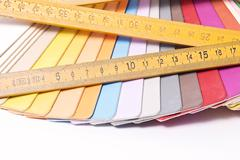 Color Palette and metric folding ruler - stock photo