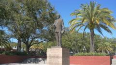 4k - Ybor City Florida statue of former Mayor Nick Nuccio Stock Footage