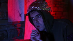 Tin foil hat man crazy guy Stock Footage