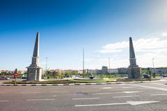 """Madrid, Spain - May 5, 2012: Roundabout of the Pyramids (""""Glorieta de las Pir - stock photo"""
