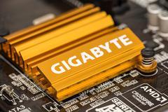Gigabyte Chipset Heatsink On Motherboard - stock photo