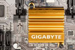 Gigabyte Chipset Heatsink On Motherboard Stock Photos