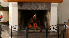 Fireplace - Fire Burning- Loopable - stock footage