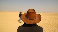 Twins with Hat at rural area Desert Stock Footage