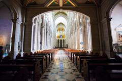 Madrid, Spain - May 6, 2012: Cathedral Almudena interior with view of the pip - stock photo