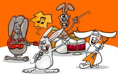 Rabbits rock music band cartoon Stock Illustration