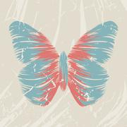 Retro butterfly on old background, colorful abstract illustration eps10 Stock Illustration