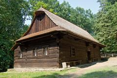 wooden house in the village - an open air museum - stock photo