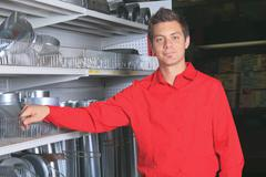 Hardware store employee - stock photo