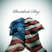 Text Presidents Day and man hands patterned with the flag of the United State Stock Photos