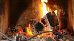 Fireplace - Close Up Slow Motion 100fps - stock footage