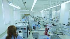 Manufacturing process in shoe factory Stock Footage
