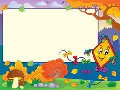 Autumn frame with kite  Stock Illustration