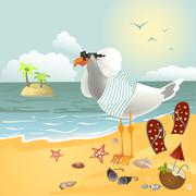 Seagull on the beach looking through binoculars - stock illustration