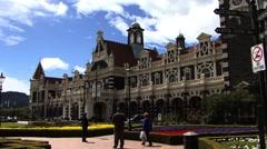 Dunedin Train Station New Zealand Stock Footage