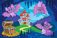 Bats in fairy tale cave Piirros