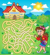Maze with schoolgirl - stock illustration