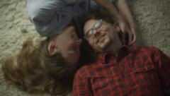 Young Happy Smiling Couple are Enjoying an Intimate Moment - stock footage