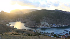 View of Balaklava and Balaklava Bay on a sunset, Crimea Stock Footage