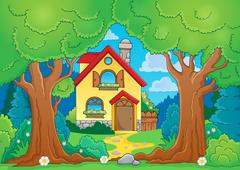 Tree theme with house - stock illustration