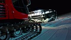 4k ratrak on ski slope, steadycam UHD stock video Stock Footage