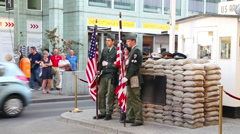 Checkpoint Charlie touristic attraction in Berlin Stock Footage