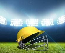 Cricket Stadium And Helmet - stock illustration